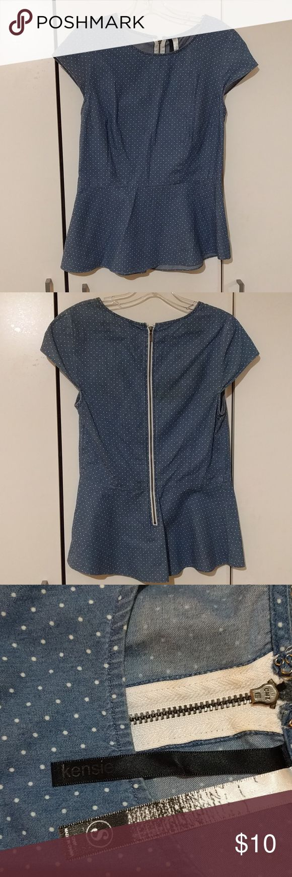 """Kensie Retro Short Sleeve Shirt Very gently used. Kensie retro style, blue polka dot, short sleeve shirt. Size small. Zipper back. 100% cotton. Measures 15"""" armpit to armpit, 23"""" from top of back collar to bottom of shirt. Kensie Tops Tees - Short Sleeve"""