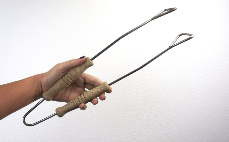 Vintage Wooden Handled Cooking and Serving Tongs,  Steel and Wood Large Farmhouse Kitchen Utensil, Rustic, Primitive Grilling 1950s 310077 by TheLionsDenStudio on Etsy