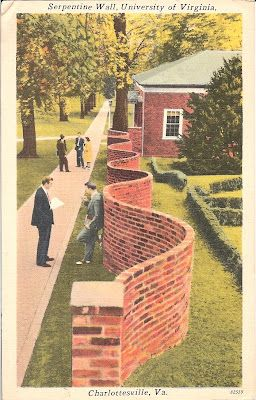 """FENCES_Vintage postcard from 1952 of a serpentine wall. According to the article: """"Jefferson realized that by building a wall that curves, one uses 25% fewer bricks as compared to a straight wall. The curved wall can support itself while being only one brick thick instead of two."""""""