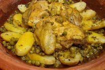 Tagine of Chicken with Peas and Potatoes - Moroccan Chicken and Peas Recipe (Delicious!! Ryan made this)