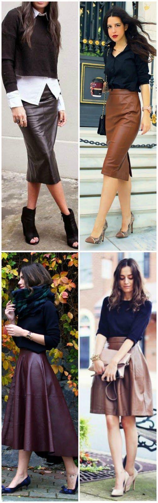 FEMINA - Modéstia e elegância: Mais saias de couro