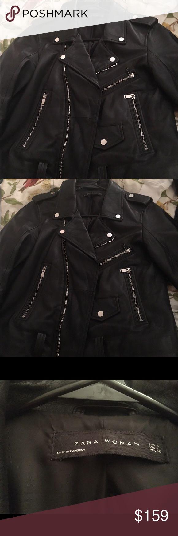 Zara women black cute leather jacket Size L Zara Women black cute jacket. No trade please. Zara Jackets & Coats