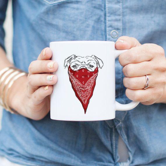 Bandido rojo Bulldog Inglés taza  gángster perro regalo