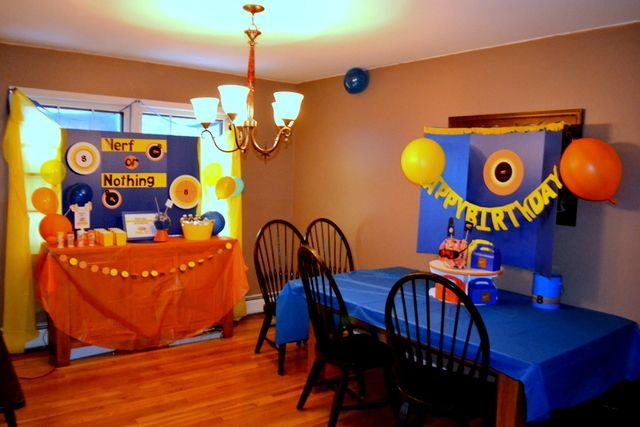Nerf / Birthday- colorful decor. Nerf of Nothing sign.