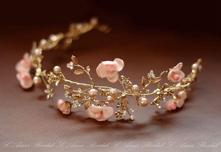 Bridal boho flower crown, floral bridal headdress, Golden wedding flower vine, bridal flower crown, boho bridal headband, blush Flower Vine by LAmei on Etsy