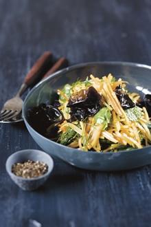Potato, Carrot & Black Cloud-Ear Fungus Salad with Ginger Vinaigrette - Kylie Kwong