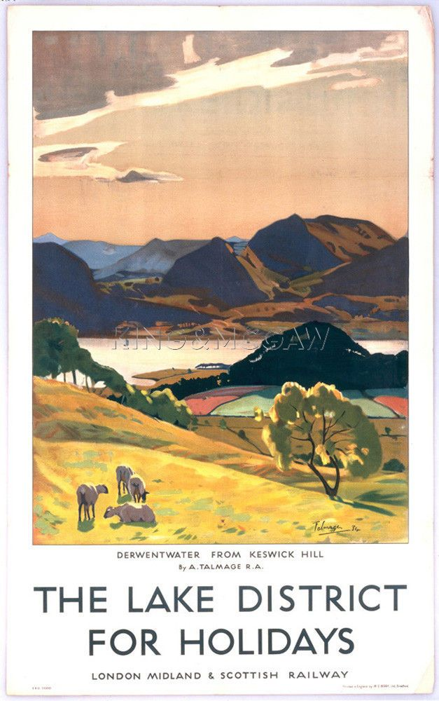 Lake District - Derwentwater from Keswick Hill Art Print by National Railway Museum at King & McGaw JUL16