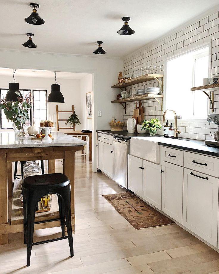 White kitchen with wood island 109 best