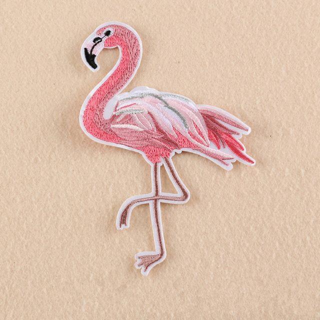 1 Шт. Flamingo Птицы Вышитые Патчи Большой Размер Одежды Гладильная Шить Аппликации для Куртки, Сумки, Обувь, Бейджи, Наклейки