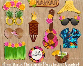 Hawaiian LUAU Photo Booth Props Luau Props Tropical Wedding