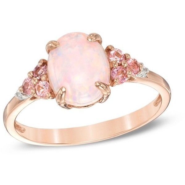 Lab-Created Pink Opal, Pink Tourmaline and Lab-Created White Sapphire... (305 CAD) ❤ liked on Polyvore featuring jewelry, rings, tri color ring, sterling silver jewelry, pink opal ring, rose gold plated ring and heart ring