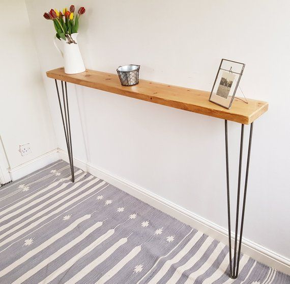 Narrow Rustic Console Table With Hairpin Legs Slimline Hall Table
