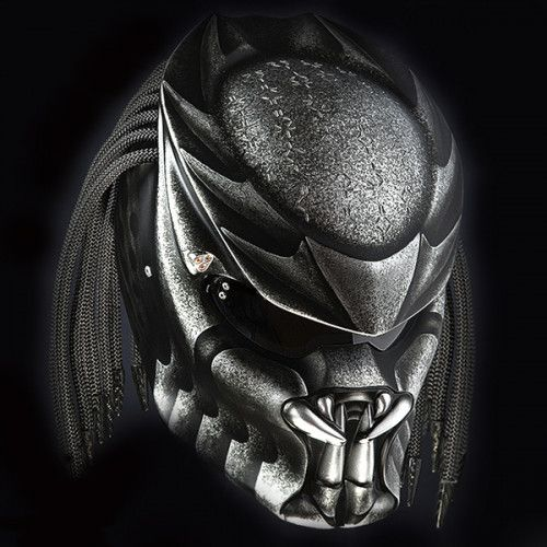 PREDATOR HELMET CUSTOM STREET FIGHTER STYLE GREY - DOT APPROVED | PanjiHelmet -  on ArtFire