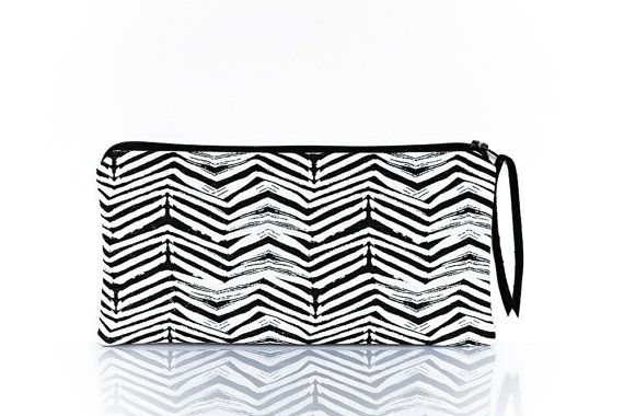 Pencil case black white Small pouch Graphic pattern by StudioAndCo