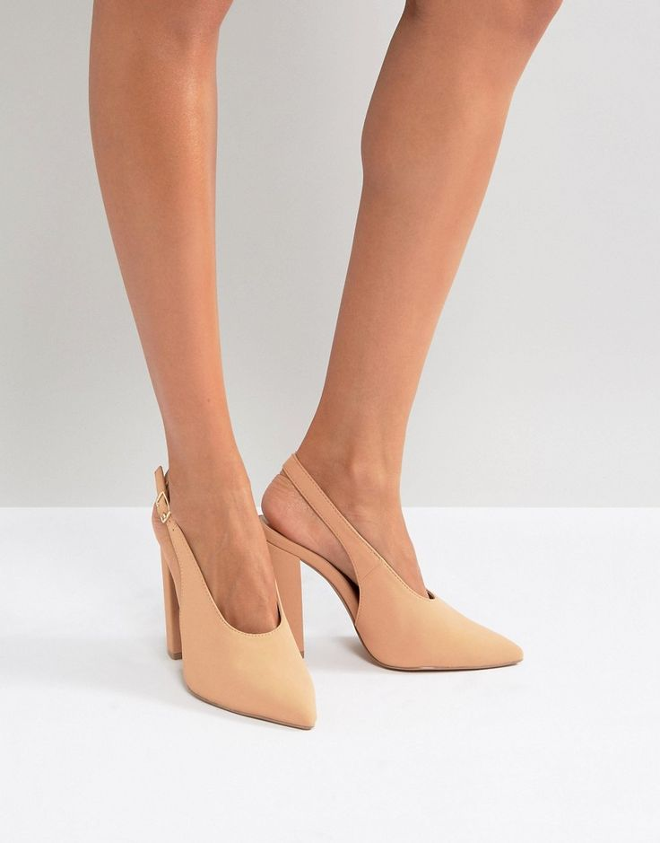 Qupid Slingback Block Heel Shoe - Pink