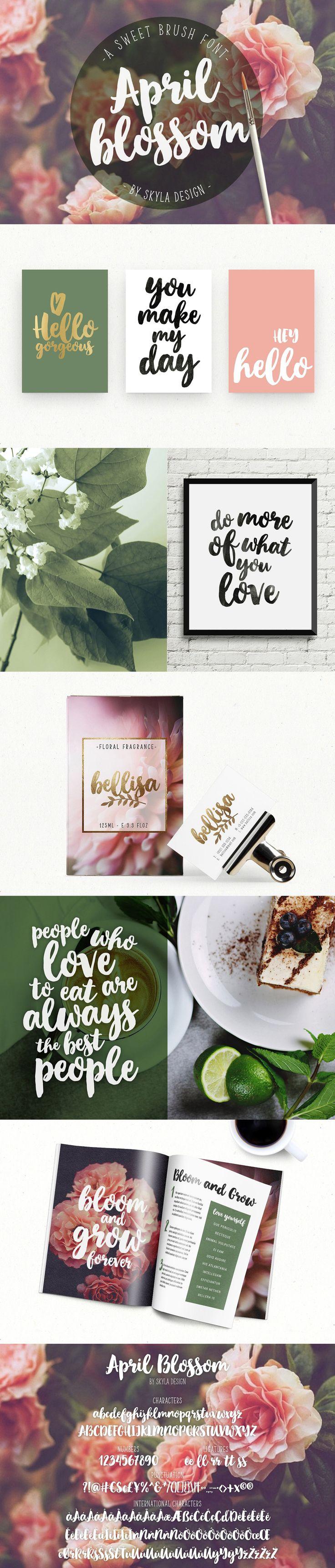 Script brush font, April blossom by Skyla Design on @creativemarket