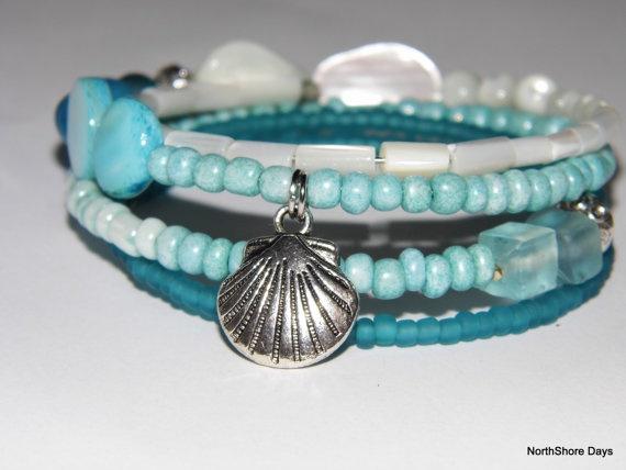 Blue Beach Inspired Bracelet. NZ$13.00, via Etsy.Blue Beach, Beach Inspired, Beach Inspiration
