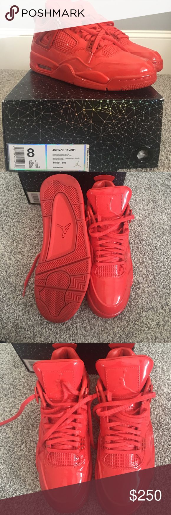 Jordan sneakers 11Lab4 - red Men's size 8 Jordan 11Lab4 (red) sneakers. Only worn twice, great condition! Jordan Shoes Sneakers