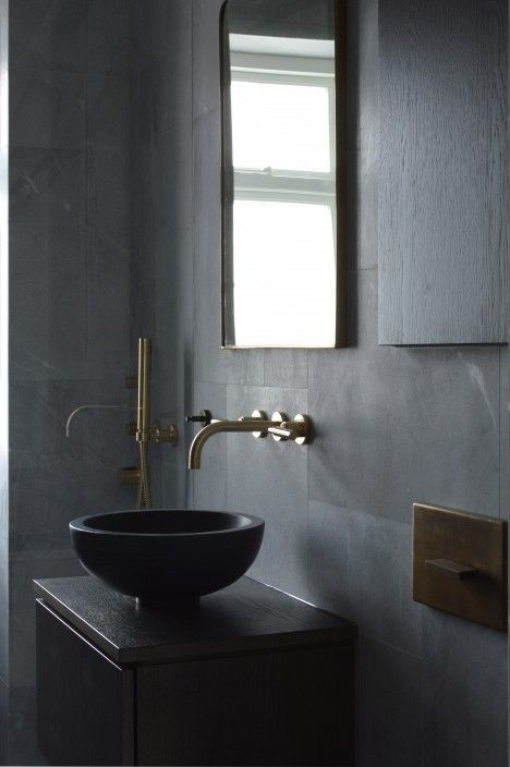 Bathroom Design By Space Copenhagen Black Tile Bathroomsbathroom Sinksbathroom Ideaswashroomindustrial
