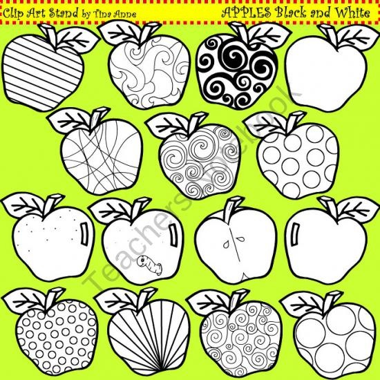 Clip Art Apples in black and white from ClipArtStand by Tina Anne on TeachersNotebook.com (15 pages)  - A unique collection of apple graphics for crafts, lesson plans, and work sheets.  Use for personal and commercial products.