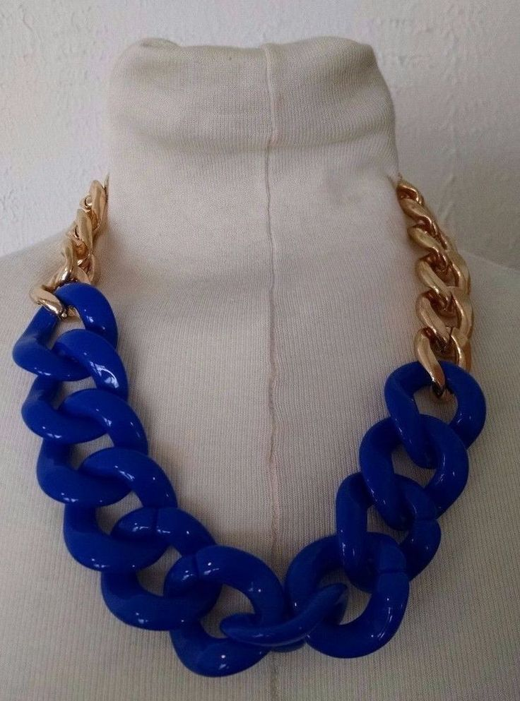 Vtg Chunky Royal Blue Plastic Lucite Acrylic Chain Link Gold Statement Necklace  | eBay