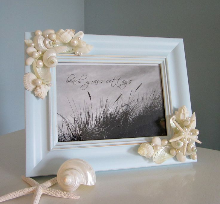 beach decor shell frame nautical decor by beachgrasscottage cool idea for vacation pics