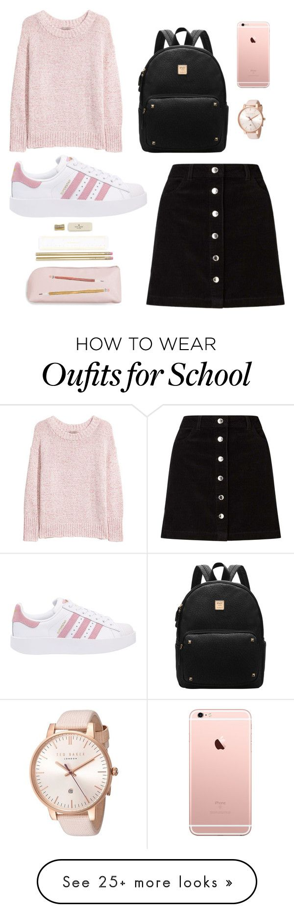 """school look"" by darrvishnya on Polyvore featuring H&M, Miss Selfridge, adidas Originals, Ted Baker and Kate Spade"
