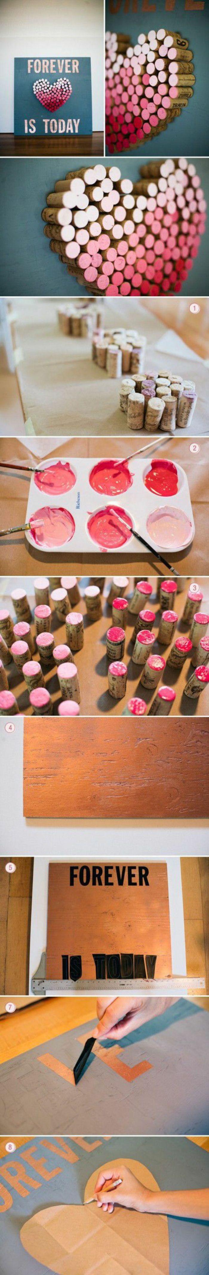 diy wanddeko, rosa herz aus weinkorken selber machen
