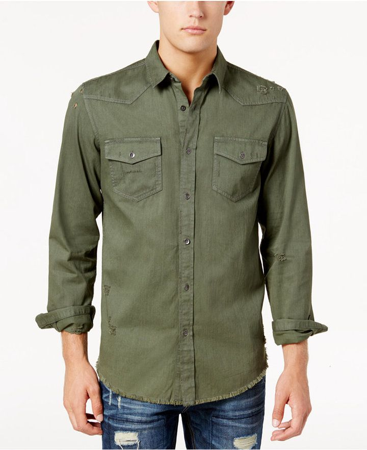 American Rag Men's Agnus Distressed Solid Shirt, Created for Macy's