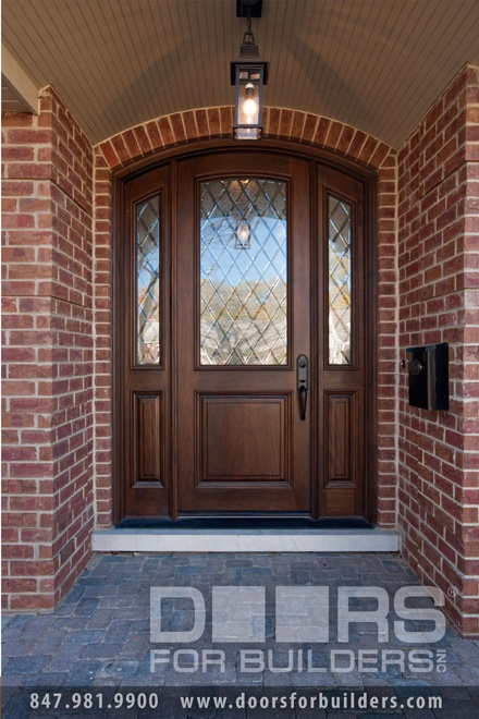 Single Door with 2sl Half Diamond Glass In Door In Sidelights, Pre-hung, Prefinished Wood Front Entry Doors in-Stock - from Doors For Builders, Inc.