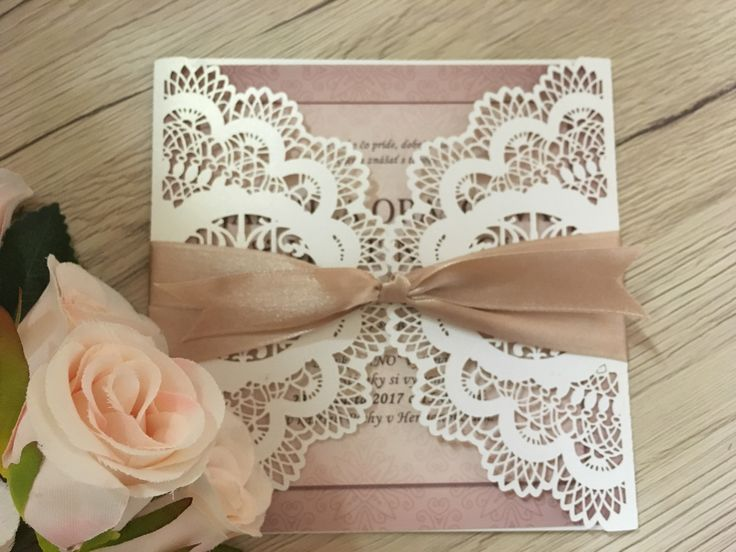 Laser cut wedding invitation in pink vintage style
