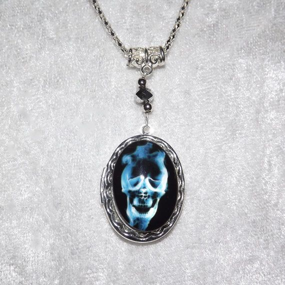 Locket  Mystic Blue Cabochon Skull Necklace  FREE by KasumiCrafts