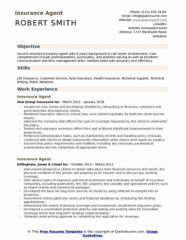 Insurance Agent Resume Job Description Beautiful Insurance Agent