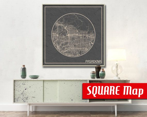 PASADENA CA SQUARE Map Pasadena California Poster by ArchTravel