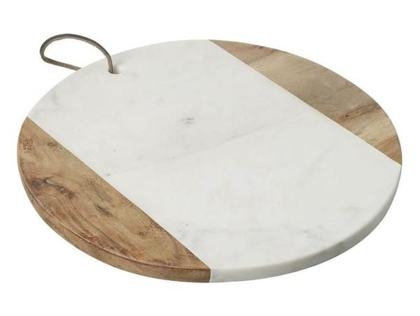 Wood & Marble Pizza Board Marble and wood two tone pizza board.  A statement piece for the kitchen, ideal for any food lover (especially pizza!).Size:  29cm