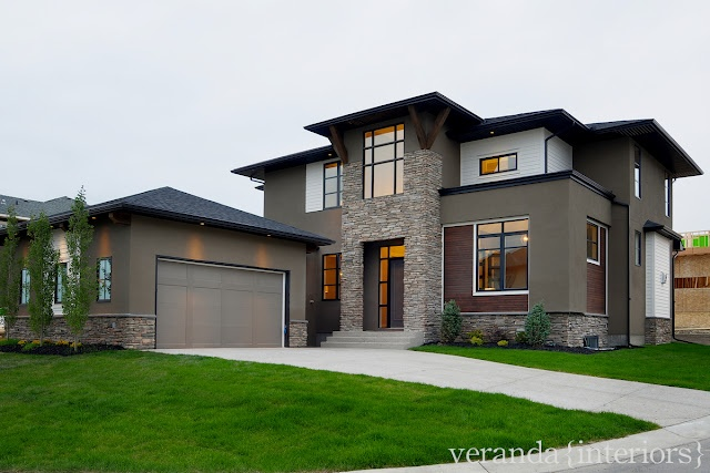 Wood Stone Grey Brown Stucco Black Touches Exterior