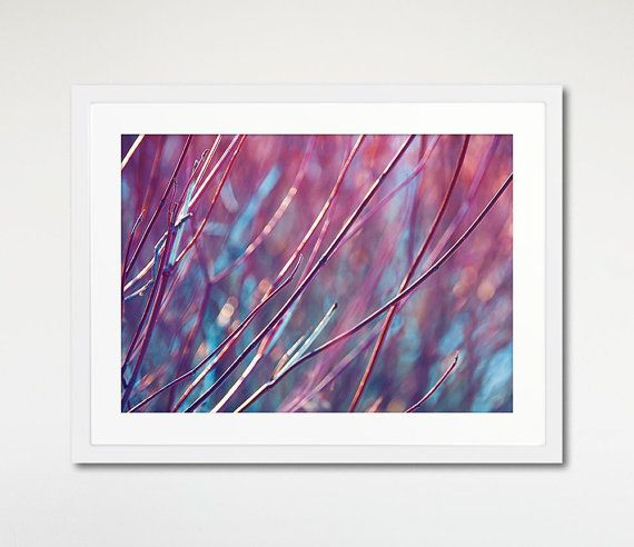 Purple Autumn Print, Dried Branches, Nature Photography, Framed Art