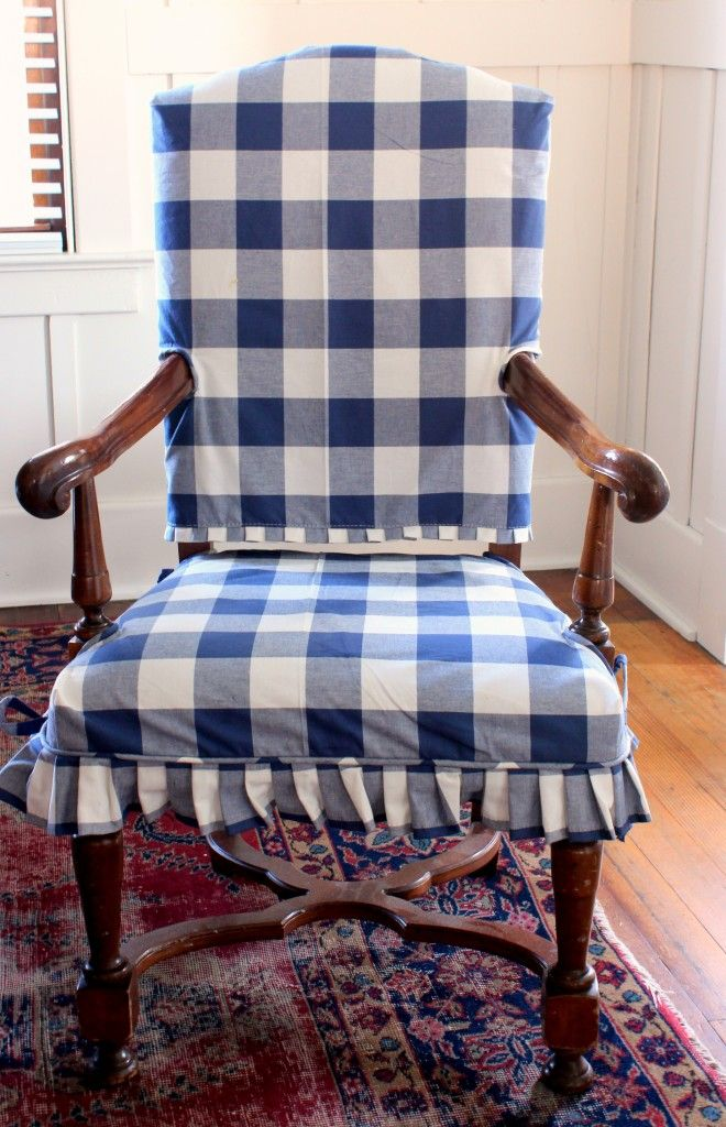 from Ebbtide beach cottage:  buffalo check slipcover @Tessa love the pleats!