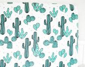 Little Woolf Fitted Crib Sheet in Light Jade & Champagne Cacti, Gender Neutral, Baby Boy, Baby Girl, Southwestern Nursery, Cactus, Country