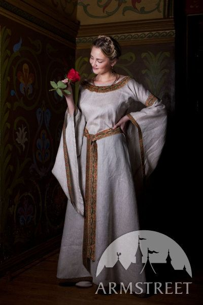 "Medieval Natural Linen Tunic Dress ""Anne of Kiev"""