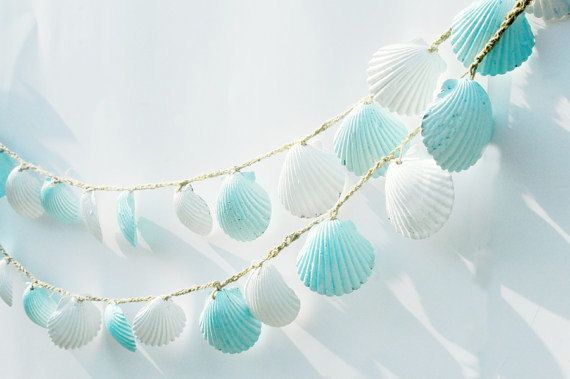 Seashell Garland Beach Wedding Decorations Blue and by Seagypsys