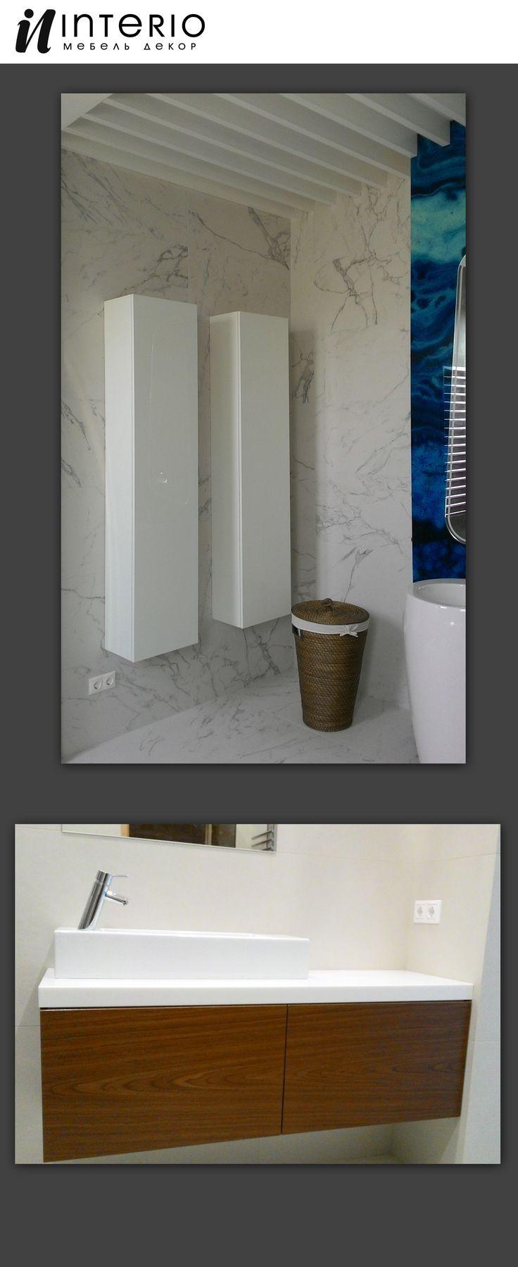 Шкафчики для ванной комнаты. Материал МДФ покраска. Тумбочка шпон, каменная столешница.