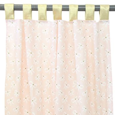 These blush pink and gold flat panel curtains will bring style to any nursery with their adorable girly bow pattern.  They are great for any nursery or big kid design.