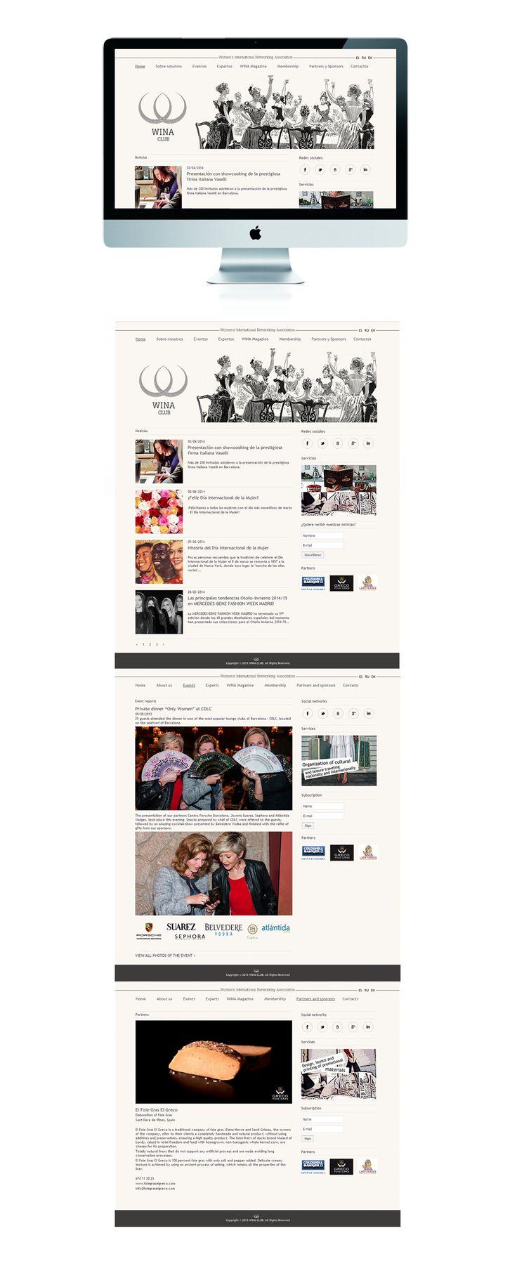 Сайт общественной организации «Wina Club» – Разработка дизайна портала для женской общественной организации «Wina Club»