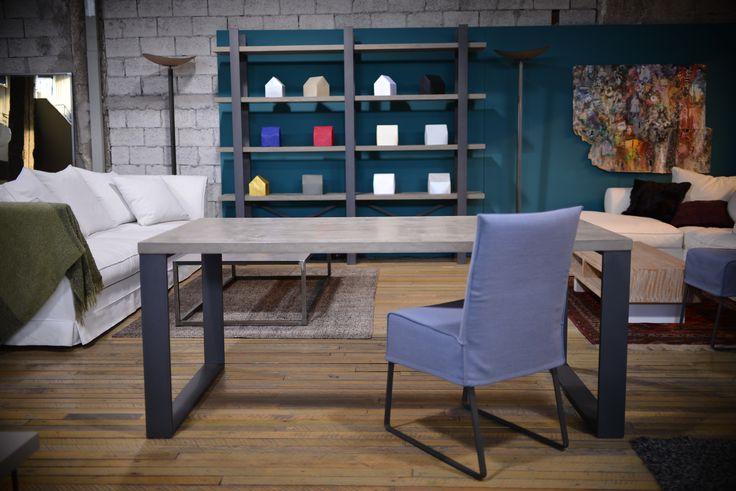 gaia table & bookcase / metalic chair