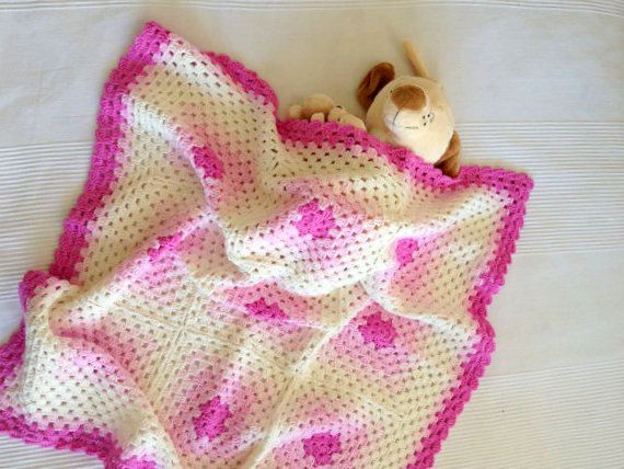 Shades of Pink Babygirl Granny Square Crochet Bamboo by allapples, $65.00