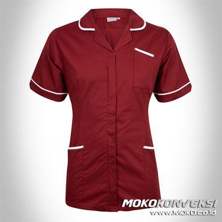 SERAGAM PERAWAT, MEDIS & PAKAIAN RUMAH SAKIT. Model Seragam Perawat Rumah Sakit Modern Warna Merah Marun.