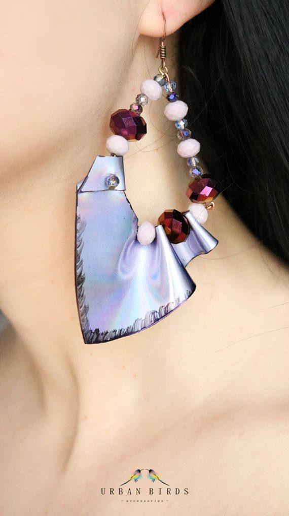"Earrings ""Purple Bridge"", Handmade earrings, leather earrings, purple earrings, beads, accessories, jewelry, Fashion, Glamour by UrbanBirdsUrbanBirds on Etsy"