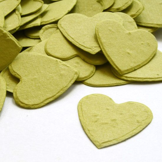 Olive Green  Wedding Heart Shaped Seed Paper Confetti   by LaZoie