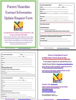 Use this form to send home mid-year when you need updated contact information for parents and guardians, such as their email addresses and phone nu...